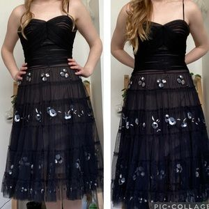BCBG | black tulle cocktail semi formal dress